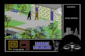 "C128 running the popular game ""The Last Ninja 2"" in C64 mode."