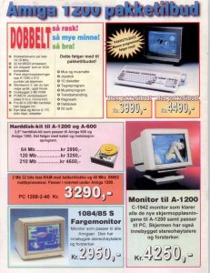 Advert for Amiga 1200 in a Norwegian com