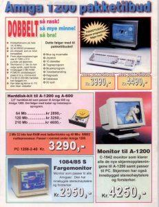 Advert for Amiga 1200 in a Norwegian com