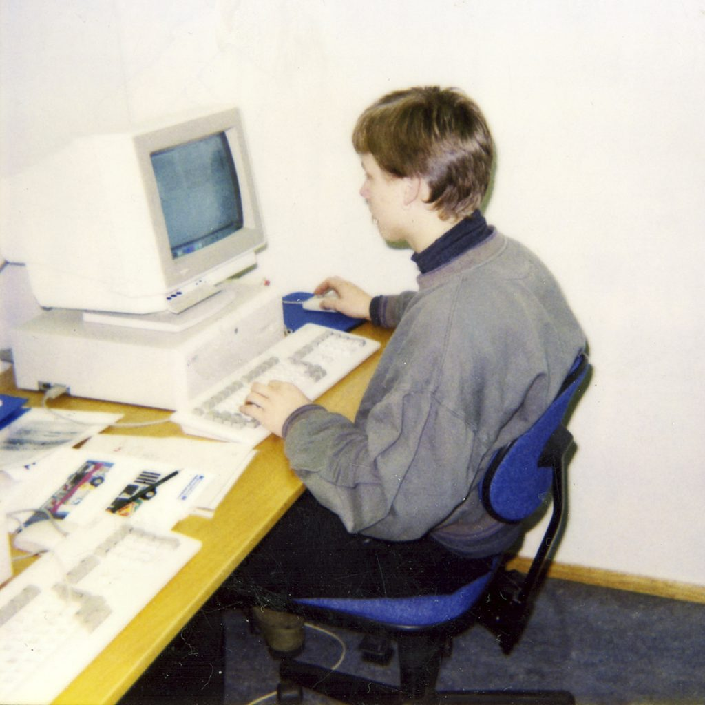 Me at school in 1994, using the Amiga 4000 for graphic design.