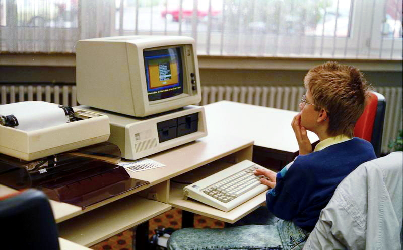 IBM PC used by a schoolchild in a school in Germany 1988.